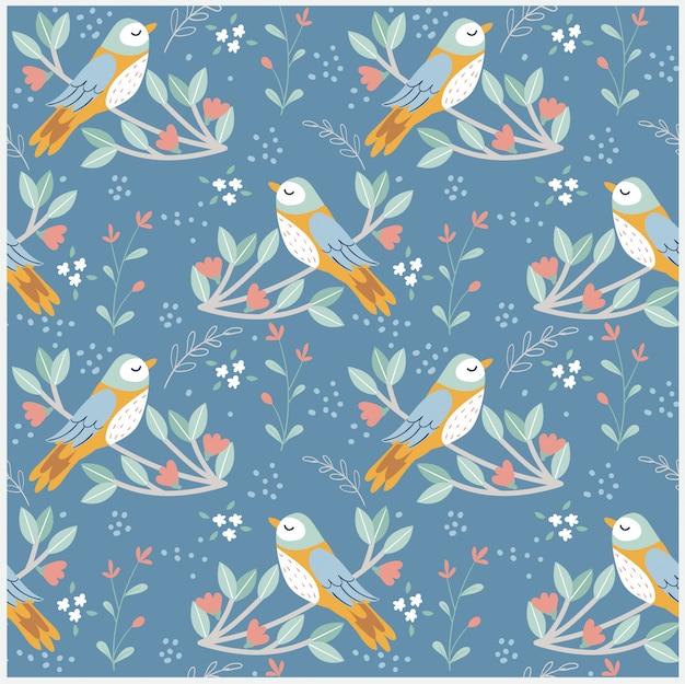 Vogel en verscheidenheidsbloem met bladpatroon