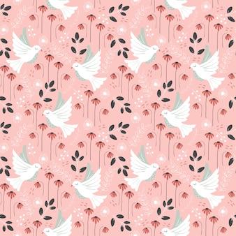 Vogel en verscheidenheidsbloem naadloze patroon / achtergrond