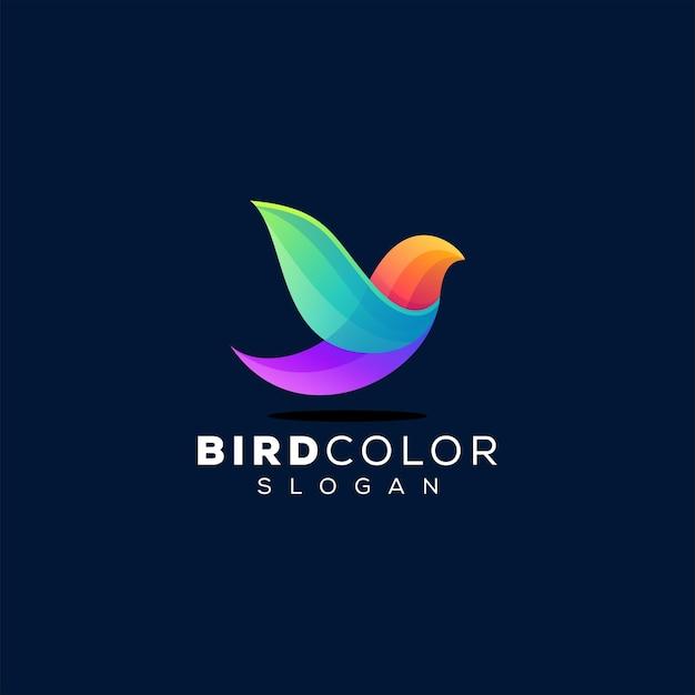 Vogel kleurverloop logo ontwerp Premium Vector
