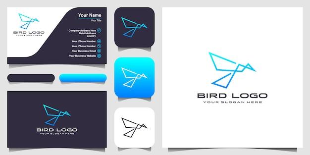 Vogel lijn kunst logo ontwerpsjabloon. logo-ontwerp, pictogram en visitekaartje