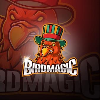 Vogel magisch esport mascotte logo ontwerp