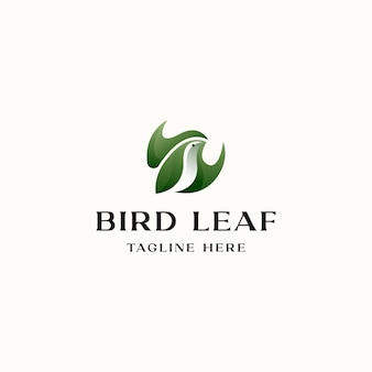Vogel met blad concept logo sjabloon geïsoleerd op witte achtergrond