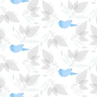 Vogel met bloemen en blad naadloze patroon