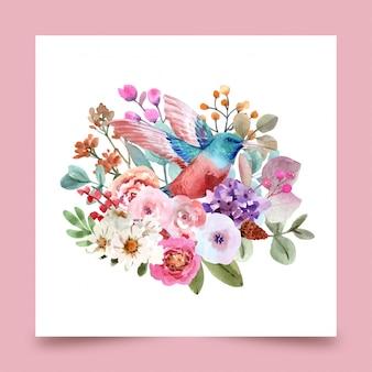 Vogel met bloemenillustratie