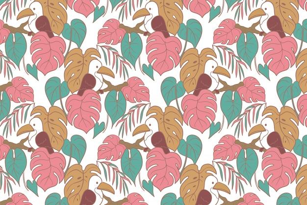 Vogel & monstera hand getrokken naadloze patroon