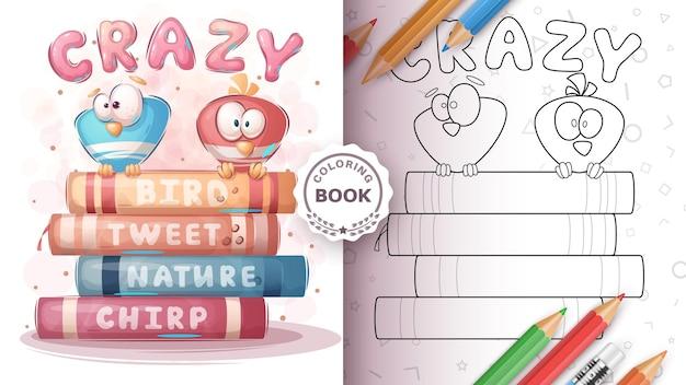 Vogel op het boek kleurplaat