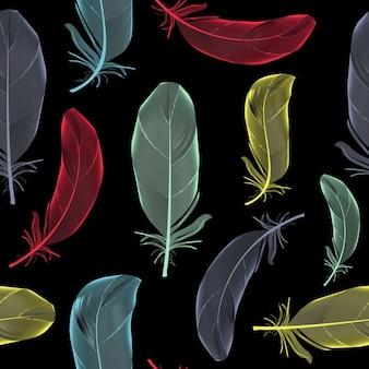 Vogel veer hand getekende naadloze patroon achtergrond vector illus