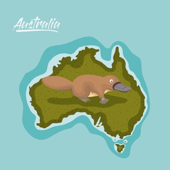 Vogelbekdier in de kaart van australië in groen omringd door de oceaan
