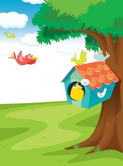 Vogelhuis op boom