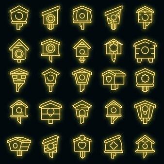 Vogelhuis pictogrammen instellen. overzichtsreeks van vectorpictogrammen van het vogelhuisje neoncolor op zwart