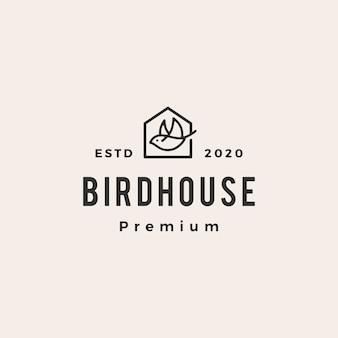 Vogelhuisje hipster vintage logo pictogram illustratie