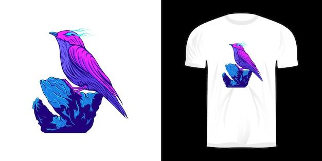 Vogelillustratie en maanzicht met neon kleuren t-shirtontwerp
