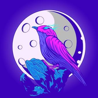 Vogelillustratie en maanzicht met neonkleuring