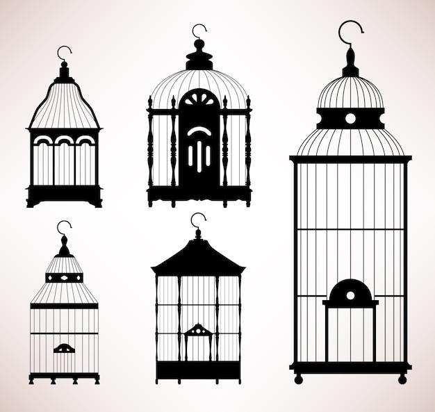 Vogelkooi vogelkooi vintage retro silhouet. een set antiek ontwerp voor vogelkooien.