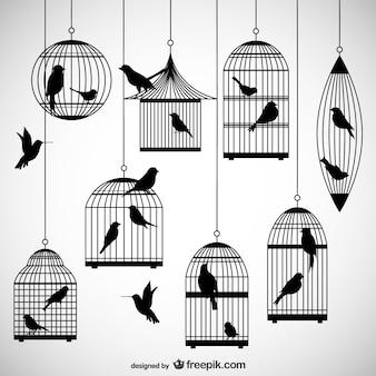 Vogelkooien silhouetten pakken