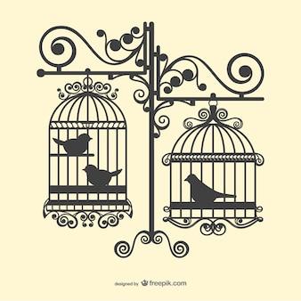 Vogelkooien silhouetten