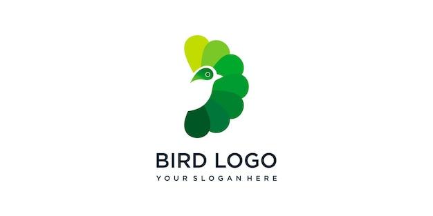 Vogellogosjabloon met groene stijlkleur voor het bedrijf premium vector