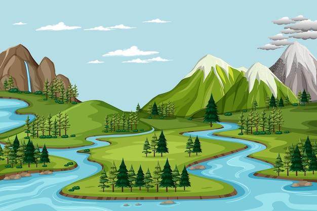 Vogelperspectief met de landschapsscène van het natuurpark