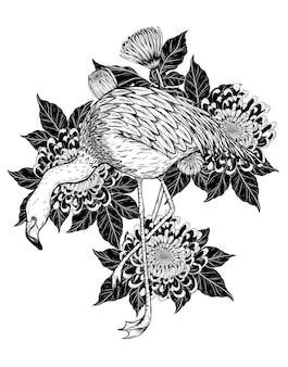 Vogels en bloemtattoo zeer gedetailleerd in lijnstijl