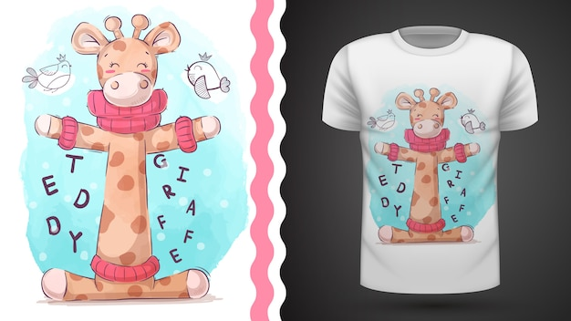 Vogels en giraffe - idee voor print t-shirt