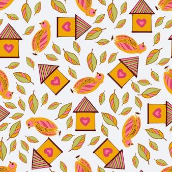 Vogels en vogelhuisjes tussen bloemen en bladeren. naadloos patroon.
