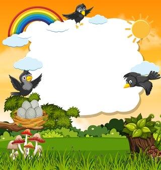 Vogels in de sjabloon van de natuurscène