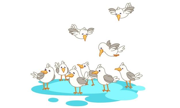 Vogels in groep op de zee