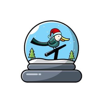 Vogels koepel kerst karakter schattig logo