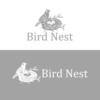 Vogels nest hand getekende vintage logo ontwerpsjabloon