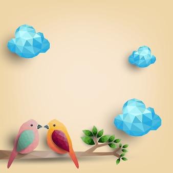 Vogels op tak van veelhoekige vormen