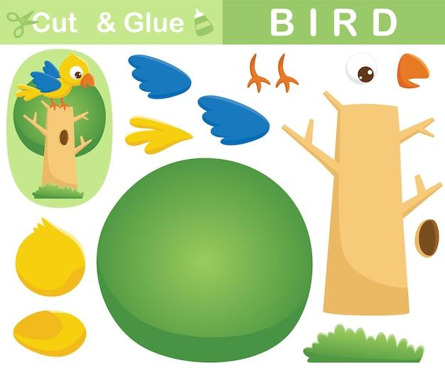 Vogeltop op boom. educatief papieren spel voor kinderen. uitknippen en lijmen. cartoon illustratie