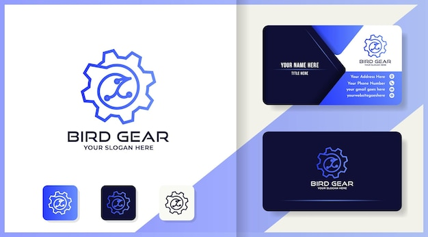 Vogeluitrusting logo-ontwerp gebruik monolijnconcept en visitekaartje