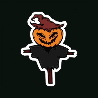 Vogelverschrikker karakter halloween sticker