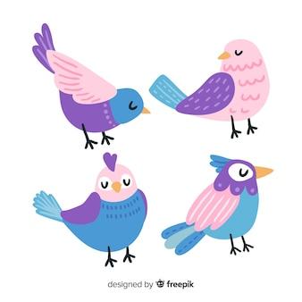 Vogelverzameling hand getrokken stijl