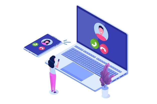 Voice over ip, ip-telefonie voip-technologie isometrisch concept.