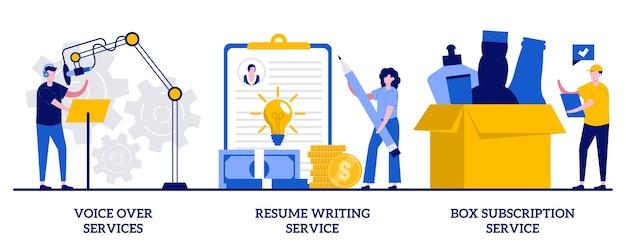 Voice-over-services, cv schrijven, box-abonnementsconcept met kleine mensen. online gebaseerde banen ingesteld. audio- en videoproductie, cv online, opstartmetafoor voor boxlevering.