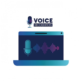Voice-techlabel met laptop en stemassistent