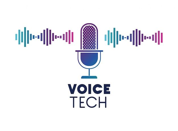 Voice-techlabel met microfoon en geluidsgolf