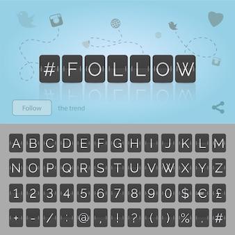 Volg hashtag door zwarte flip scorebord, alfabetnummers en simbols