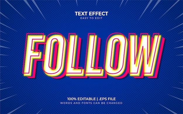 Volg mij bewerkbaar teksteffect