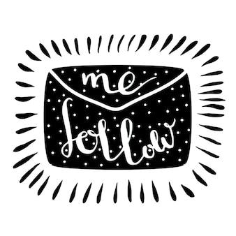 Volg mij brief. handgeschreven pictogram. blog banner.