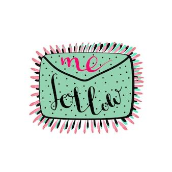 Volg mij. handgeschreven letters. blog-pictogram.