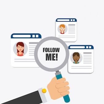 Volg mij sociaal en zakelijk themaontwerp