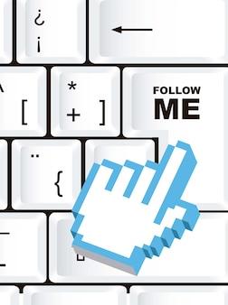 Volg mij teken over toetsenbord met cursor hand vector
