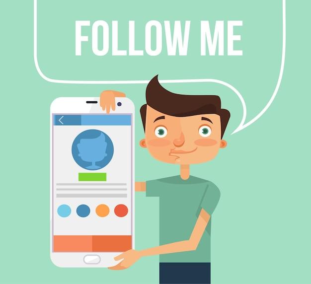 Volg mij. vector platte illustratie