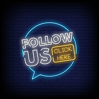 Volg ons neon signs style text vector