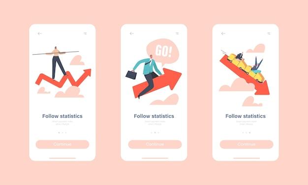 Volg statistieken mobiele app-pagina onboard-schermsjabloon. kleine zakenmensenkarakters rijden op en neer rode pijl