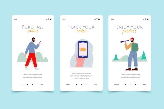 Volg uw bestelling online mobiele app-schermen