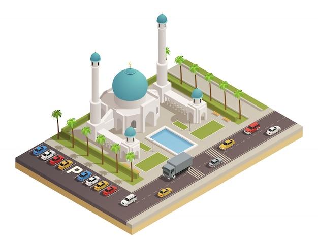 Volgelingen van moskee-islam aanbidden plaatsbouw met koepel en minaretten en aangrenzende wegen