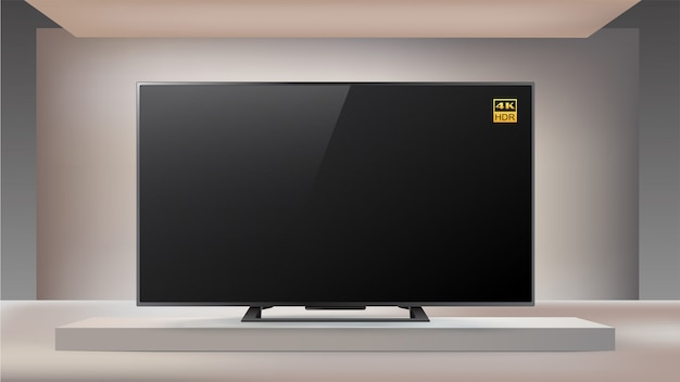 Volgende generatie slimme led 4k tv op verlichte studio-achtergrond
